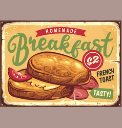 french toast breakfast sign menu vector image