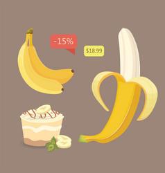 Fresh banana fruits collection of vector