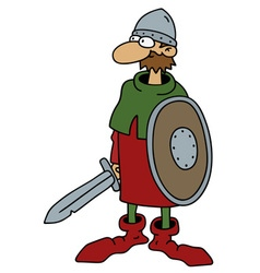 Funny old warrior vector image vector image