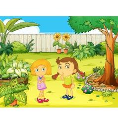 Girls in the garden vector image