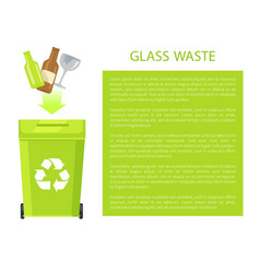 glass waste poster and text vector image