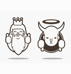 Good and bad god and devil cartoon graphic vector