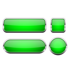 Green glass 3d buttons with chrome frame set of vector