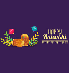 happy baisakhi drums concept banner cartoon style vector image