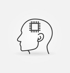 Head with chip line icon cyborg concept vector