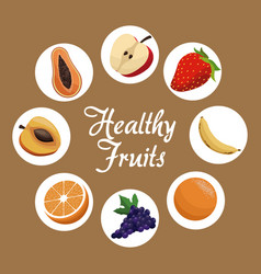 healthy fruit harvest food poster vector image