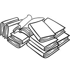 Heap books cartoon vector
