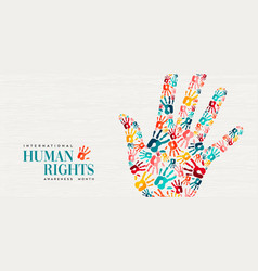 Human rights card colorful people hand prints vector