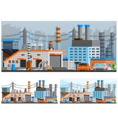 Industrial Buildings Compositions Set vector image