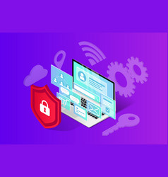isometric internet security banner vector image