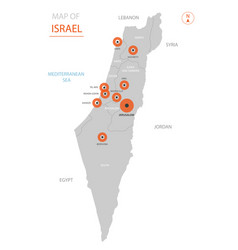 israel map with administrative divisions vector image