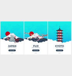 Japan time to travel set of travel posters vector