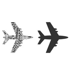 Jet plane mosaic of service tools vector