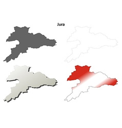 Jura blank detailed outline map set vector