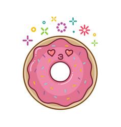 Kawaii smiling donut cartoon vector
