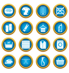 laundry icons blue circle set vector image