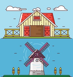 Linear flat rural landscapes Granary and windmill vector