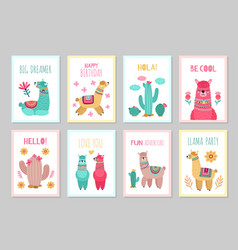 llama cards beautiful invitations alpaca flower vector image