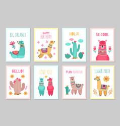 Llama cards beautiful invitations alpaca flower vector