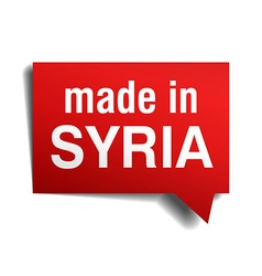 Made in Syria red 3d realistic speech bubble vector