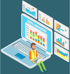 Male analyst working with statistical data vector