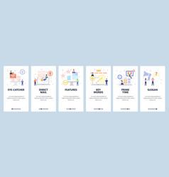 Mobile app onboarding screens video marketing vector
