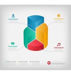 Modern 3d graph for web presentation or brochures vector