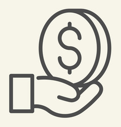 money in hand line icon dollar in palm vector image