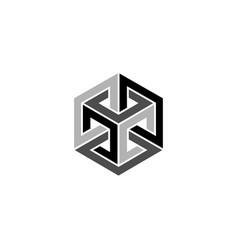 Optical illusion impossible cube isometric logo vector