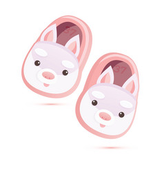 Pair pink soft home slippers with rabbits vector