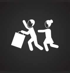 People fighting for items on sale on black vector