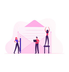 people writing letter and e-mail concept tiny vector image