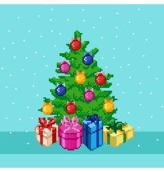 Pixel Christmas tree vector