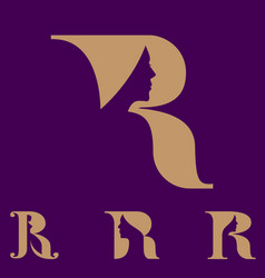 R letter based symbol woman shape in negative vector