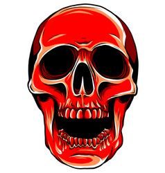 realistic red skull for vector image
