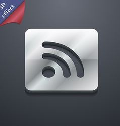 RSS feed icon symbol 3D style Trendy modern design vector image
