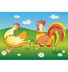 Running cockerel and pullet vector