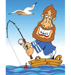 Sailor fishing vector image