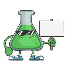 Science test tube with sunglasses holding sign vector