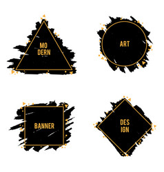 set of trendy frames of ink brush strokes vector image