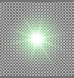 shining star on transparent background green vector image