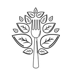 silhouette fork kitchen tool with leaves vector image