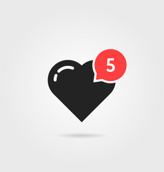 simple heart like red notification vector image