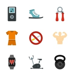 Sports training icons set flat style vector