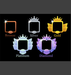 Square frames game rank gold silver platinum vector