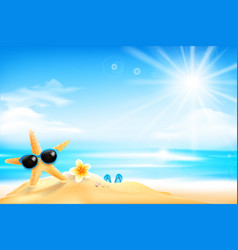 starfish is wearing sunglasses and flower on vector image