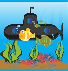 submarine at the depth ocean vector image