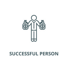 successful person with money bags line icon vector image