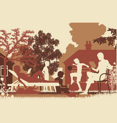 Summer family toned vector