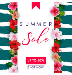 Summer sale background with tropical flowers vector